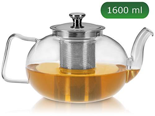 praxxim - 1600ml - Tropffreie Glas Teekanne mit Siebeinsatz - Edle Kanne für gemütlichen Tee Genuss - Hitzefeste Glaskanne mit Edelstahl Sieb - Hochwertiger Teebereiter für pures Geschmackserlebnis