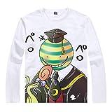 Cosstars Anime Assassination Classroom T-Shirt Camiseta de Manga Larga Cosplay Disfraz Pullover Suéter Tops Sweat Shirt para Hombre Mujer Blanco/22 XL