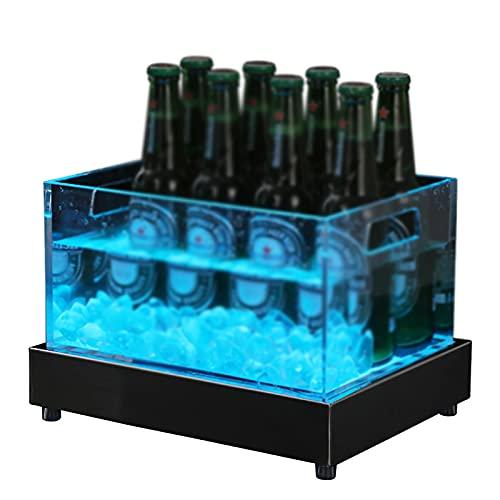 Cubitera Hielo con LED Que Cambia de Color, Cubo de Enfriador de Vino de Plástico Acrílico, Vino de Champán de 7 Colores, Cubiteras de Cerveza para Bebidas, para Fiestas, 30 * 23 * 19.5cm
