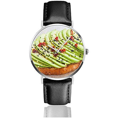 Gesneden Avocado Op Toast Brood Specerijen Eten en drinken Vrouwen Horloge Polshorloges Lederen Band Horloge Zwart