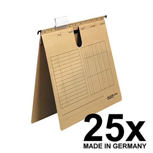 Original Falken 25er Pack Hängehefter UniReg. Made in Germany. Kaufmännische Heftung, aus Recycling-Karton für DIN A4 braun Blauer Engel ideal für die lose Blatt-Ablage im Büro und der Behörde