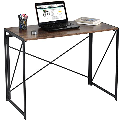 ANJI DEPOT Folding Computer Desk, Laptop Table, Portable Office Desk, Foldable Small Desk for Home Study/Gaming/Office (Rustic Brown)