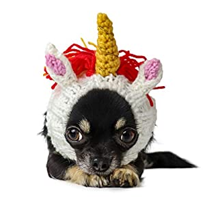 Zoo Snoods Unicorn Dog Costume – Neck and Ear Warmer Hood for Pets (Small)