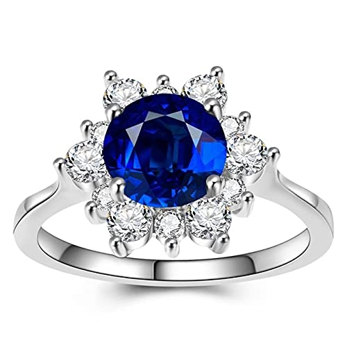 DJMJHG Anillo de Lujo para Mujer Plata de Ley 925 Anillo Fiesta Chirstmas Femal Gifts 8 Azul