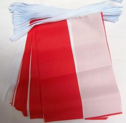 AZ FLAG FAHNENKETTE Polen 6 Meter mit 20 flaggen 21x14cm - POLNISCHE Girlande Flaggenkette 14 x 21 cm