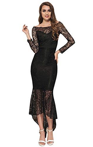 Vrouwen Plus Size Lange Mouwen Kanten Rok Party Cocktail Sexy Fishtail Rok Slim Kanten Onregelmatige Maxi Dress