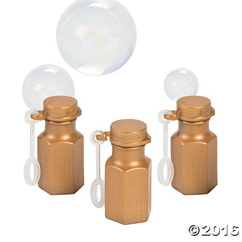 Fun Express Gold Wedding Anniversary Hexagon Bubble Bottles - 48 Pieces