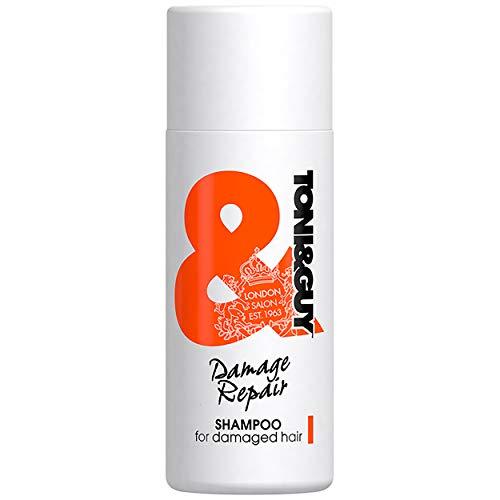 Toni&Guy Damage Repair Shampoo I Reparatur-Shampoo für strapaziertes Haar I Reparierendes Haar-Shampoo für alle Haar-Farben & alle Haar-Typen I Haar-Pflege-Shampoo für geschädigtes Haar I 50 ml