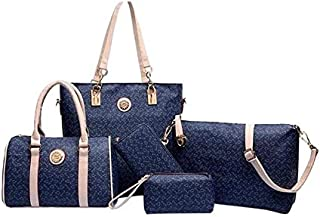 5-Piece Classic Tote Bag Set- Navy Blue