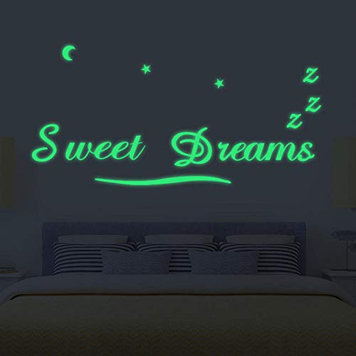 Onlymygod Inglés pegatinas de pared dulce sueño Inglés pegatinas de pared pegatinas fluorescentes decoración del hogar 50x45cm