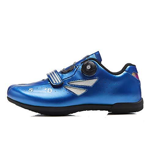 LU-Model Zapatillas de Ciclismo para Carretera Plus, con Suela de y Sistema rotativo de precisión Suela Dura para Zapatos de Montar sin Bloqueo Blue-36