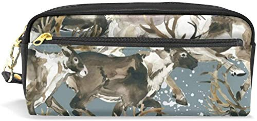 Watercolor Reindeer Splash Chaos Print Pencil Case Pen Bag Stationery Pouch Makeup Holder Cosmetic Box Makeup Organizers