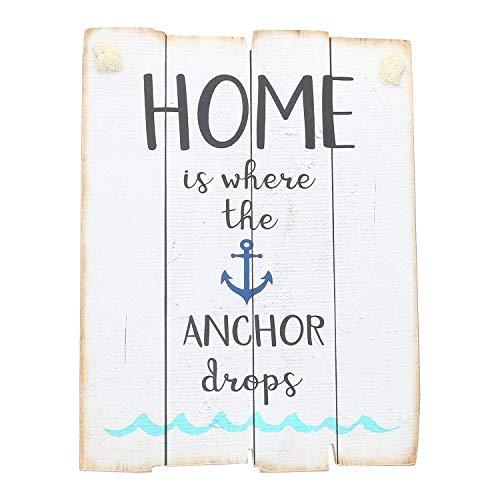 AmaCasa–Cuadro con Mensaje de motivación 30x 40cm Home is Where The Anchor Drops–Cartel de Madera de Madera de Imagen Decorativa, Vintage