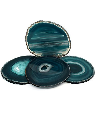 "Agate Coaster Teal 3-3.5"" Dyed Sliced Agate Drinks Cup Mat Set of 4 Small with Rubber Bumpers, By Amoystone"