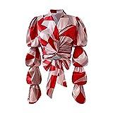 Manica Corta Summer Autumn Hit Color Stampato Camicia per Le Donne con Soffio a soffitto Manica Lunga Patchwork Corto Top Femminile Moda Moda Abbigliamento T-Shirt (Color : Red, Size : S)