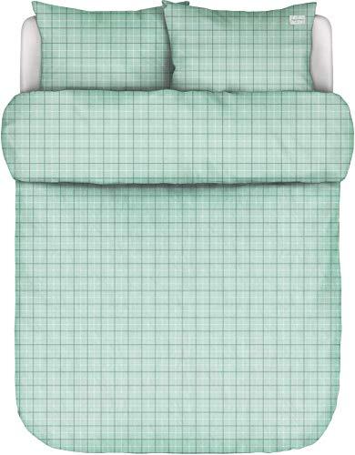 Marc O?Polo Tolva Soft Green - Juego de cama (200 x 220 + 2/80 x 80 cm, 100% algodón percal, funda de almohada y funda de almohada)