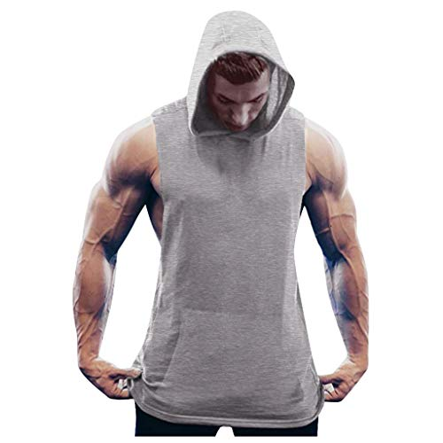 iLOOSKR Plus Size Men Solid Color Tight-Drying Fitness Show Muscle Sleeveless Bodybuilding Hooded Vest Tops Gray