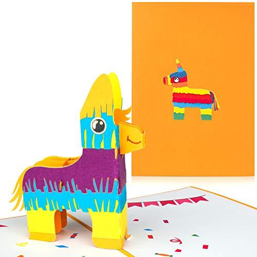 PaperCrush® Pop-Up Karte Kindergeburtstag Lama Pinata - Lustige 3D Geburtstagskarte für Mädchen und Jungen, Kinder Glückwunschkarte, Geschenkkarte zum Kinder-Geburtstag