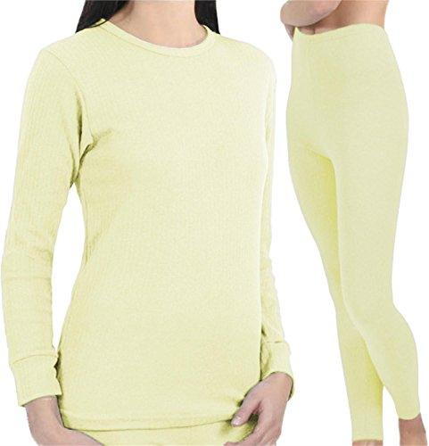 normani Warme Thermounterwäsche/Ski Unterwäsche für Damen Farbe Garnitur (Hose+Hemd) Cremeweiß Größe L