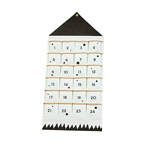 24 Bolsillos Calendario de Navidad Tela for Colgantes de Navidad Partido de los Ornamentos del advenimiento Bolsos de Lazo Colgante Adornos Banner Calendario de Navidad (Color : Multicolor)