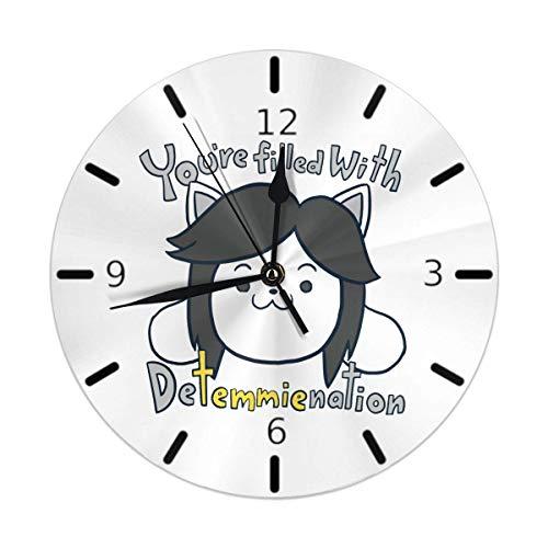 Kncsru Reloj de Pared Silencioso Sin tictac Relojes de Pared Redondos, Ideo Game Undertale Temmie Relojes Cuarzo con Pilas Analógico Silencioso Reloj de Escritorio