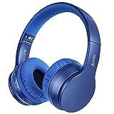 Sunvito Auriculares Bluetooth de Diadema Plegable,4 en 1 Estéreo Bass Inalámbrico Auriculares con Reproductor MP3,FM Radio,Auriculares con Cable,Mic Arriba-Oreja para PC Andriod (Azul Oscuro)