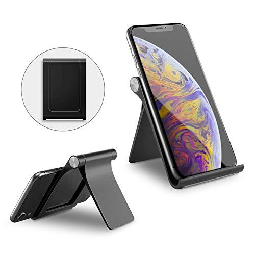 TINICR Handy Ständer Tragbarer Tisch Handyhalterung Verstellbarer Multi Winkel Halterung Faltbarer Gummierter Halter für 4-8 Zoll Smartphone, E-Reader und Tablet, Schwarz