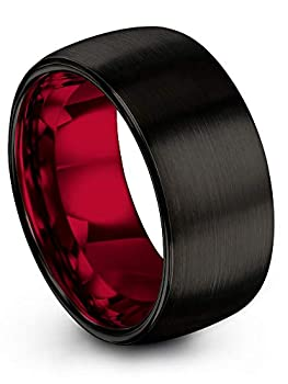 Chroma Color Collection Tungsten Carbide Wedding Band Ring 10mm for Men Women with Red Interior and Black Exterior Dome Style Brushed Polished Comfort Fit Anniversary Size 13