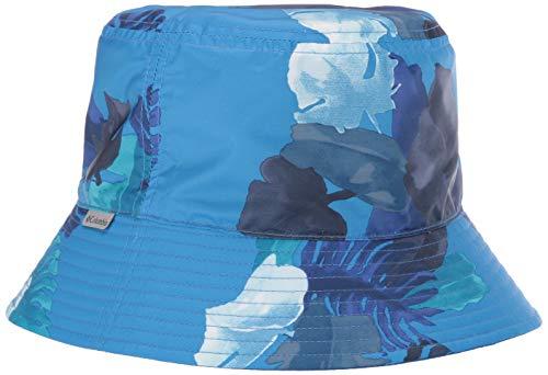 Columbia Kinder Bucket Hut Pixel Grabber, Nylon/Polyester, Azurblau mit Pflanzen-Motiven/Blau (Azure Blue Tropical Monsteras/Azul), S/M
