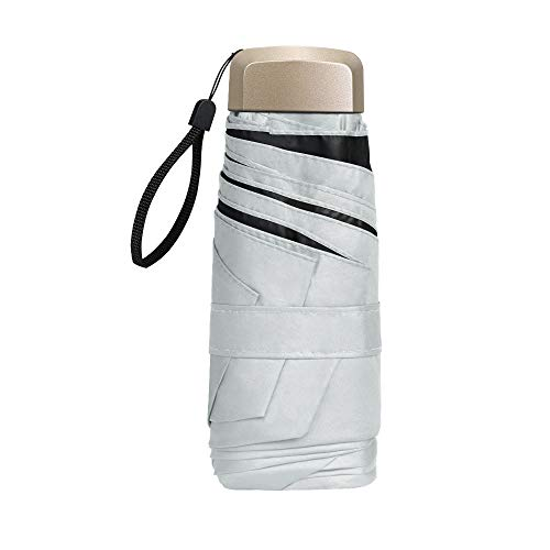 Vicloon Mini Ombrello, Ombrello Tascabile con Manico Dorato & 6 Nervature in Lega di Alluminio, Portatile Compatto Pieghevole Viaggio Ombrello, UPF>50+ Ombrello da Sole/Pioggia - Bianco