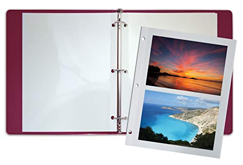 50 Count Photo Mounting Sheets, 11 x 9 Inches, Double-Sided, 3-Hole Punched, by Better Office Products, Refill Photo Album Sheets, Replacement Photo Album Sheets, Box of 50