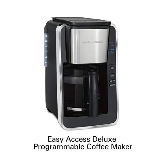 Hamilton beach programmable coffee maker, 12 cups, front access easy fill, pause & serve, 3 brewing options, black… 5 front access for easy filling fill the water tank from the front of the machine, not just the back front-access makes it easy to keep the coffee maker under the cabinet when in use swing out brew basket easier to fill and keep clean than a top load basket. Nonstick hot plate programmable clock set your brew time and strength in advance, and get peace of mind with a 2 hour automatic shutoff