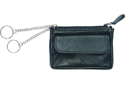 Alassio Schlüsseletui aus feinem Nappaleder, mit 2 Schlüsselringen an Ketten und Vorfach Schlüsselmäppchen, 12 cm, Schwarz