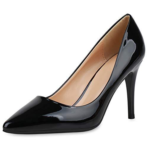 SCARPE VITA Damen Spitze Pumps Elegante Lack Schuhe Stiletto Abendschuhe High Heels Absatzschuhe 190439 Schwarz 39