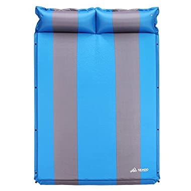 SEMOO Double 2- person Self-Inflating Camping Sleeping Mat/pad, 190T Polyester, Water Repellent Coating, with Attached Inflatable Pillow