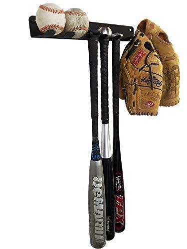 IRON AMERICAN Alpha Bat Rack 17 Inch, Holds 7 Bats, Heavy Duty Steel Wall or Fence Mounted Baseball Softball Glove Ball Storage Display Shelf Hanger (Alpha BAT Rack (Holds 7 Bats))