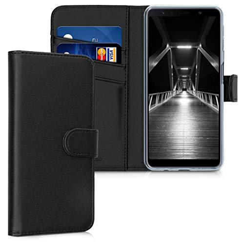 kwmobile Carcasa Compatible con Samsung Galaxy A7 (2018) - Funda de Cuero sintético con Tarjetero en Negro
