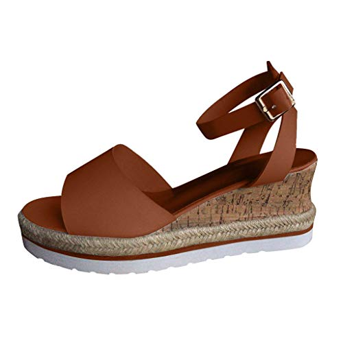 UOWEG Wedges Sandalen für Damen Retro Open Toe Breathable Knöchel Plattform Wedges Schuhe Damen Römersandalen