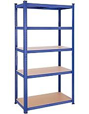SONGMICS Legplank, rek voor zwaar gebruik, kelderplank, 200 x 100 x 50 cm, belastbaar tot 875 kg, 5 verstelbare legplanken, metalen legplank, legplank zonder bouten, werkplaatplank
