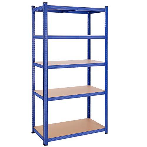 SONGMICS Lagerregal mit 5 Regalböden, 200 x 100 x 50 cm, bis 875 kg belastbar (175 kg pro Ablage), Schwerlastregal, höhenverstellbare Ablagen, verstärktes Stahlgestell, blau GLR050Q01