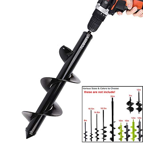 Auger Drill Bit 3x12inch Garden Auger Spiral Drill Bit Rapid Planter for 3/8 Hex Drive Drill - for Tulips, Iris, Bedding Plants and Digging Weeds Roots