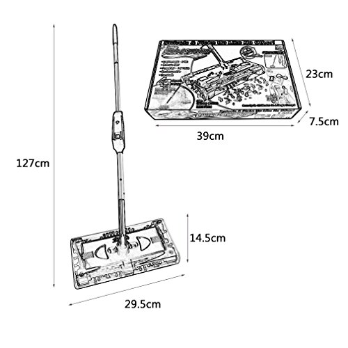 Elektrischer Besen Akku Kehrbesen Aufladbar Kabellos Kehrer mit 4-seitiges 360° Bürstensystem Geeignet für Haus Büro Reinigung (Schwarz) - 6
