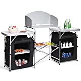 8. Giantex Folding Camping Kitchen Table w/ 2 Storage Organizer, Portable Aluminum Windscreen Cooking Table Easy-to-Clean, 2-Tier Outdoor Kitchen Cook Station for BBQ, Party, Picnics, Backyards (Black)