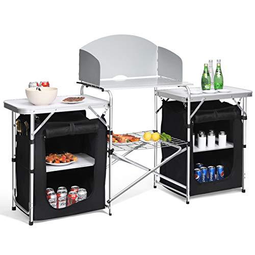COSTWAY Mesa de Camping Plegable con Organizado Cocina de Camping Armario de Tela y Marco de Aluminio para Fiesta Picnic Exterior