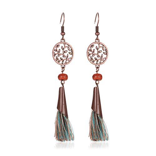 jieGorge Pendientes bohemios de moda para mujer, estilo vintage, bohemio, con flecos largos y borla, para regalos de mujer (multicolor)