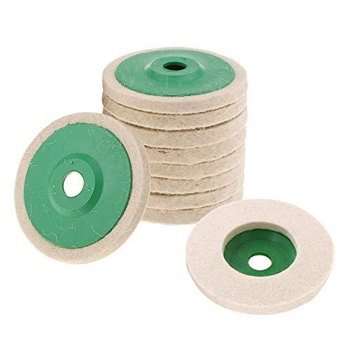 '10Stück Wolle Polierscheibe, enthalten mehr Wolle, 100mm Korrektur der Räder mit 5/8Pavillon für polieren Glas, Keramik, Kunststoff, Schmuck, Metall, Marmor