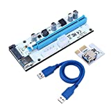 Goldyqin Tarjeta Vertical PCI-E VER008S PCI-E 1x a 16x con 4 Pines 6 Pines Sata Tres Puertos de Fuente de alimentación + Cable extendido USB para Bitcoin Miner