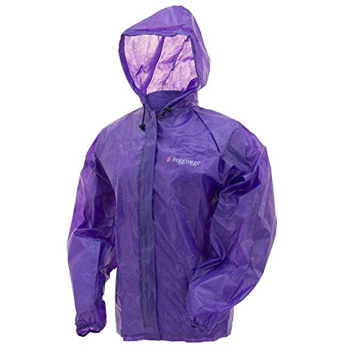 FROGG TOGGS Women's Emergency Waterproof Rain Jacket, Purple, Large/X-Large