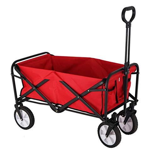 XGL Carro Plegable, Carro De Supermercado con Ruedas, Carro De Playa Al Aire Libre para Camping, Pesca En El Jardín, Barra De Corbata Ajustable, 93X52X101.5Cm,Rojo