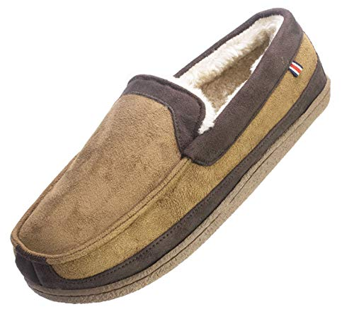 IZOD Men's Memory Foam Slipper, Classic Two-Tone Moccasin, Large Size 9.5-10.5, Tan Brown